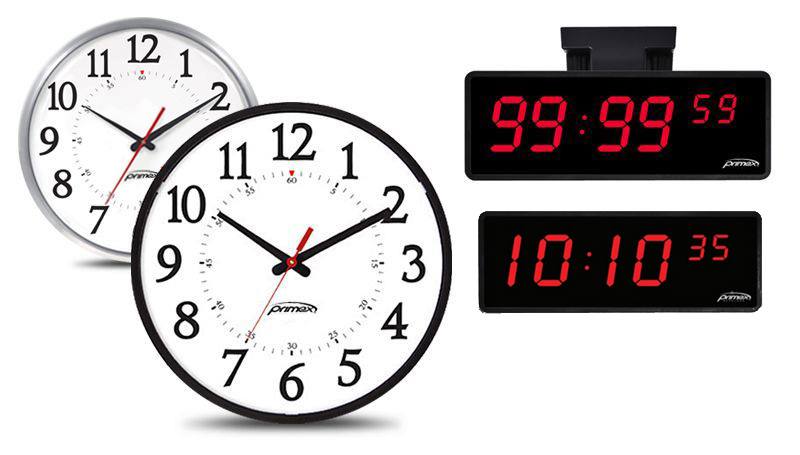 Primex Analog and Digital Synchronized Clocks and Timers